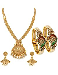 Sukkhi Dazzling Pearl Gold Plated Wedding Jewellery Kundan Peacock Meenakari Necklace Set & Kada Combo For Women (CB73405)