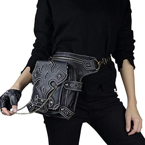 MARYYUN Steampunk Hüfttasche Frauen Männer Leder Vintage Schulter Steampunk Punk Handtasche Hüfttaschen Beinbeutel Multi-Style-Umhängetasche -