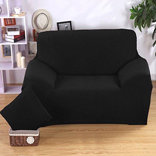 Preisvergleich Produktbild Wohnmöbel Sessel Zweisitzer Sofa 1 2 3-sitzer Sofa Stretch Deckel Elastisch Protektor Riemen Husse 10 Farben - Schwarz Zweisitzer, 57''-73''
