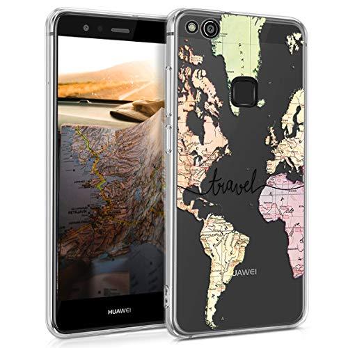 kwmobile Huawei P10 Lite Hülle - Handyhülle für Huawei P10 Lite - Handy Case in Travel Schriftzug Design Schwarz Mehrfarbig Transparent