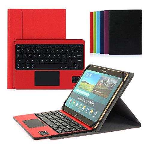 tastiera tablet 10.1 Cassa con Tastiera Smontabile Bluetooth 3.0 Italiano e touchpad - Compatibile con 9.0-10.6 Pollici Qualsiasi Windows/Android OS (Rosso)