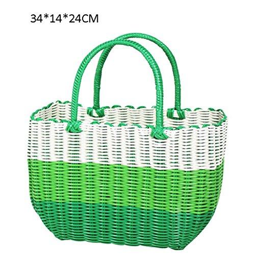 Xuan - worth having Vert et blanc Fabrication artisanale de tissage en plastique Panier à main Bain Le panier Panier Panier de pique-nique Anti-corrosion ( taille : 34*14*24cm )