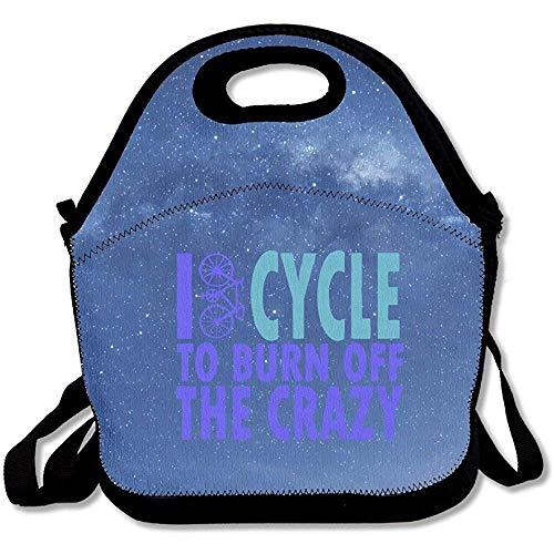 I Cycle to Burn Off The Crazy Large & Thick Neopren Lunch-Taschen Isolierte Lunch-Taschen Kühltasche Warm Warm Tasche mit Schultergurt für Frauen Teenager Mädchen Kinder Erwachsene
