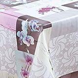 laro Wachstuch-Tischdecke Abwaschbar Garten-Tischdecke Wachstischdecke PVC Plastik-Tischdecken Eckig Meterware Wasserabweisend Abwischbar GAI, Größe:118x180 cm, Muster:Orchidee