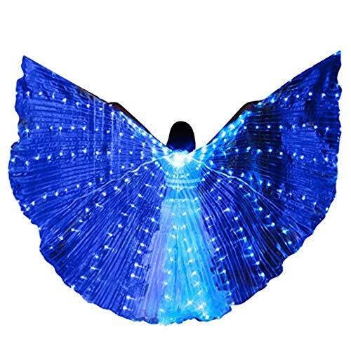 LED Isis Flügel, Dasongff 360° Isis Wings Farbe Flügel Bauchtanz Kostüme mit Stöcke, für Dance Fairy Bauchtanz Pixie Halloween Weihnachten Cosplay Fasching Karneval (Blau, - Professionelle Ägyptische Bauchtanz Kostüm