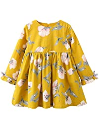 Vestido para Niña, K-youth® Ropa Bebé Niñas Mangas Largas Floral Impresión Vestidos Niña Vestido de Fiesta Vestido Princesa Niña Falda…