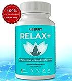 UberFit RELAX+ Premium Schlaf-Optimierer für besseren Schlaf, mehr Entspannung - 60 Anti-Stress Kapseln Vegan - Melatonin, Baldrian, Melisse, Ashwagandha, Lavendel, Passionsblume, L-Tryptophan uvm.