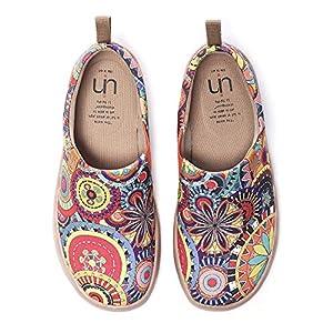 UIN Süße Katze Bemalte Canvas Slip On Schuhe Damen Mehrfarbig
