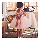 Baby Mädchen Bowknot Spitze Prinzessin Rock Sommer Sequins Kleider für Baby Kleinkinder Kinder 0-5 Jahre alt Rosa/120cm
