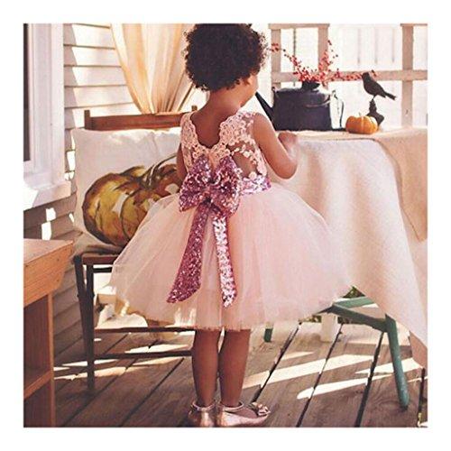 Highdas 2017 Mädchen Bowknot Spitze Prinzessin Rock Sommer Sequins Kleider für Baby Kleinkinder Kinder 0-5 Jahre alt rosa / 3-4Jahre