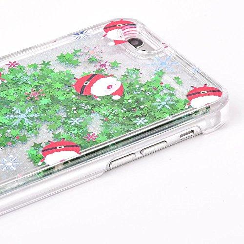 Coque iPhone 7 Transparent Glitter Liquide 3D Bling Étoiles Paillettes Thème de Noël Etui pour iPhone 7 Housse Silicone PC Plastique Rigide Shell Housse de Protection Bumper Case Cover Couverture Anti Noël Chapeau