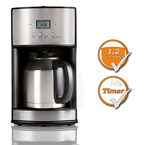 Kaffeemaschine für 1,2Liter Kaffee, mit 24h Timer, für 10 Tassen Kaffee, zu jeder Tageszeit und Nachtzeit, schwarz-silbernes Design Isolierte Kaffeemaschine