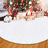 ANLAN 122cm Weißflocke Weihnachtsbaum Decke Weiche Snow Weiß Weihnachtsbaum Rock Baumdecke, Herrlicher und eleganter Weißer Baum-Rock für Weihnachtsbaum Dekoration
