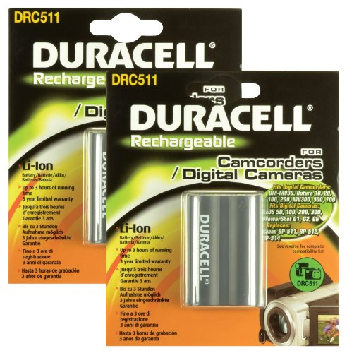 Duracell Ersatzakku für Digitalkamera (ersetzt Canon BP-511) 2 Stück (Canon 40d Akku Eos)