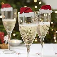 Ingefära raj kort jultomte hattar bord rolig julglasdekoration, papper, röd