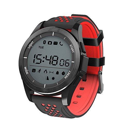 Reloj Inteligente Pulsera Smartwatch IP68 30m Impermeable Reloj Deportivo Bluetooth 4.0 Al Aire Libre Gimnasio Senderismo Fitness Tracker para Android iOS (Negro Rojo)
