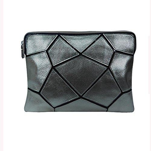 Le nuove borse in pelle donne europee ed americane donne borse delle donne cuciture spalla borsa diagonale piccola borsa ( Colore : Silver ) Silver