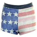 Fantasia Boutique Damas Efecto Denim Descolorido bandera EUA Hot Pants Estampado Mujer Shorts Elásticos - sintético, Vaquero, 95% poliéster 5% elastano, mujer, 8