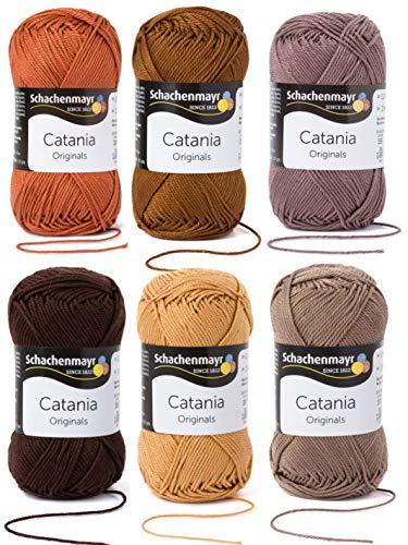 6x50 Gramm Schachenmayr Woll-Set Baumwollgarn Catania zum Stricken und Häkeln inkl. detallierter Anleitung für EIN Meerschweinchen (Braun Mix)