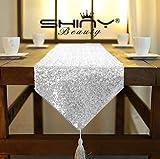 Shinybeauty, runner da tavola, scintillante, con lustrini e nappe, dimensioni 30 x 183 cm, ideale per feste di matrimonio, banchetti, decorazione della tavola, Silver, 30x180cm