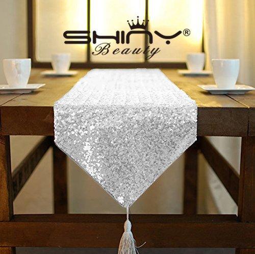 shinybeauty Shimmer Silber - Pailletten Tischläufer tassel-30 X 180 cm, Glitzer Rund Pailletten Stoff für Tisch Läufer in Party Hochzeit Bankett Tisch Leinen Layout oder Dekoration (Runde Bankett-tisch)