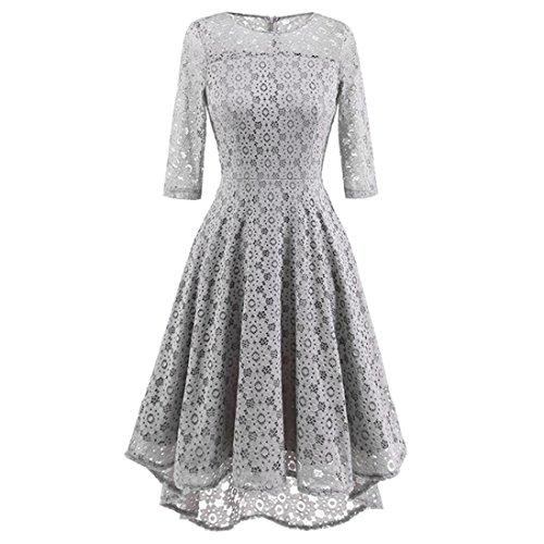 Damen Elegant Hochzeit Abendkleid Sannysis Damen Vintage Spitzenkleid O-Ausschnitt Unregelmäßige Hochzeit Cocktailkleid Party Kleid (Grau, S) (Falten Polka Rock Dots)