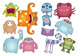 I-love-Wandtattoo WAS-10322 Kinderzimmer Wandsticker Set Lustige Monster Figuren 10 Stück zum Kleben Wandtattoo Wandaufkleber Sticker Wanddeko