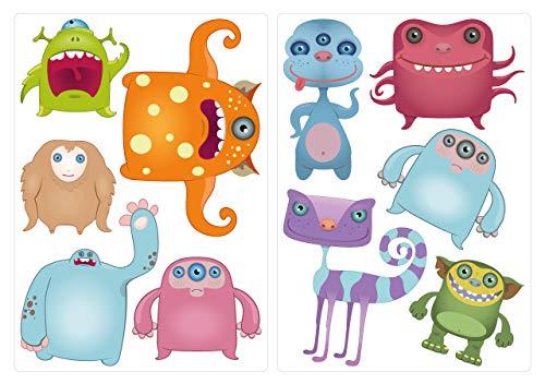 dekodino Wandtattoo Kinderzimmer Wandsticker Set Lustige Monster Figuren Stück zum Klebe