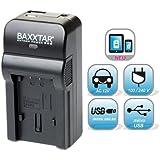 Baxxtar RAZER 600 II Chargeur 5-en-1 pour Fujifilm NP-W126 avec entrée micro USB et sortie USB, permet de charger simultanément appareil photo, caméra GoPro, iPhone, tablette, smartphone, etc.