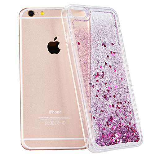 WE LOVE CASE Bling Paillette Coque iPhone 6S Plus Liquide Sables Mouvants , iPhone 6 Plus Etui Violet Quicksands Transparent Housse , We Love Case Dual Layer TPU Gel Silicone Coque Brillant Flash Étui Violet