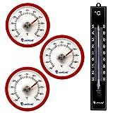 Lantelme 7347Termometro Set con 3PZ. klebet hermometer rotondo colore ROSSO E 1PZ. Analogico in Plastica Termometro Nero