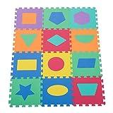 Homcom 320-007 Puzzlematte Kinderspielteppich Spielmatte 12 teilig abwaschbar mit geometrischen Figuren Bunt, 31x31 cm, mehrfarbig
