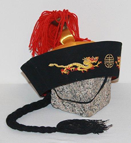 Chinesische Kaiser Kappe Mütze mit Zopf und Spitze, Qing Dynastie China in rot schwarz (Dynastie Kostüm Qing Chinesischen)