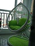 D&LE Single Sedia da Basket sospesa Cuscino Spesso Sedia Girevole Cuscino Sedia Balcone Nido d'uccello Chair Cushions Courtyard Giardino Sedia in Rattan Cuscini per Sedia-Verde Singolo