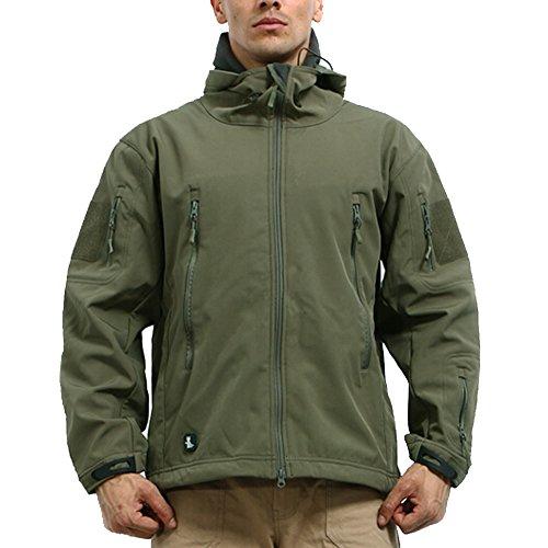 Reebow Gear Militaer Taktische Softshell Jacke outdoor Fleece Kapuzenjacke Army Gruen XL