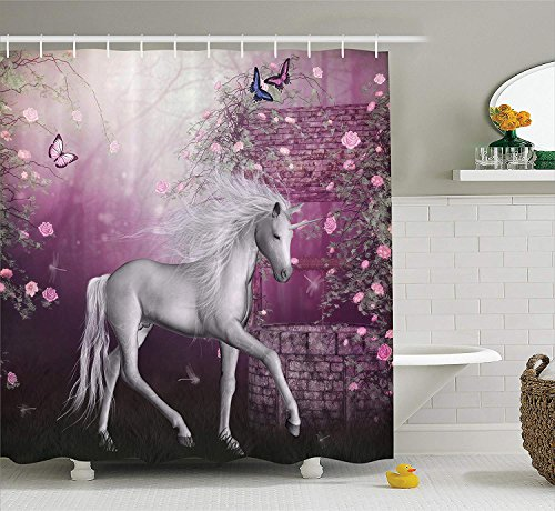 LZHsunni88 Fantasy House Decor Collection, Unicorn in Rose Garden Summer Flying Butterflies Romance Fairy Tail Themed Art, Polyester Fabric Bathroom Shower Curtain, 75 inches Long, Pink White -