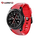 LEMFO LF16 Smart Watch Cell Phone Android 5.1 MTK6580 Quad Core 3G WIFI GPS Heart Rate Monitor Smartwatch All-in-One (Red)