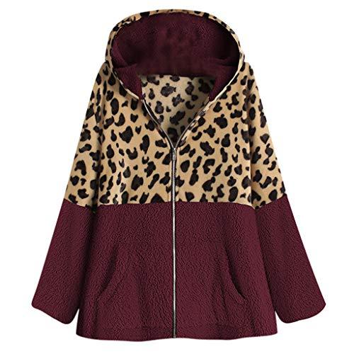 Inawayls Damen Mantel Plüsch Wintermantel mit Kapuzen Warm Outwear Parka Steetwear Leopard-Druck Patchwork Outdoorjacke