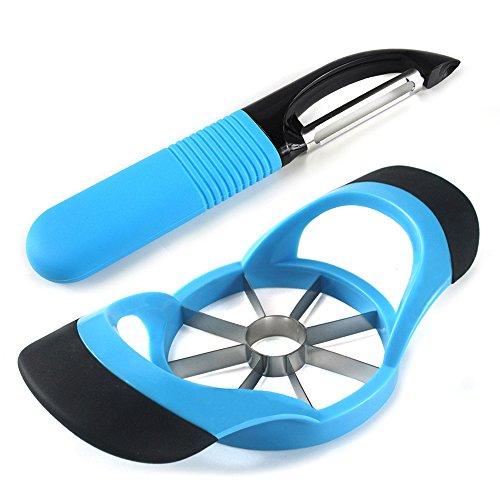 LEMCASE® Apfelschneider, Apfelschäler (2 Stück Set) - Apfelteiler - Obstschneider aus Silikon Griff   Blau