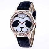 Dilwe Reloj de Mujeres Patrón de Panda Movimiento de Cuarzo con Banda PU Relojes Regalo de Mujer(Negro)