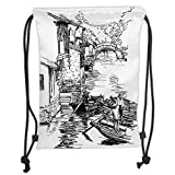Drawstring Backpacks Bags,Ancient China Decorations,Sketch of Shanghai Water Village Boats on River Houses Bridge,Black White Soft Satin,5 Liter Capacity,Adjustable String Closure,