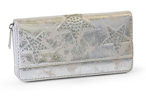 FashionCHIMP Vintage Geldbörse mit Nieten Stern Cut-Outs und Reißverschluss, Portemonnaie für Damen (Silber-Metallic)