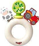 HABA 303915 - Greifling Bauernhof-Welt   Holzgreifling mit bunten Bauernhof-Figuren   Baby-Spielzeug ab 6 Monaten