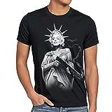 style3 Marilyn Liberty Tattoo T-Shirt Herren freiheitsstatue USA new york, Größe:XXL, Farbe:Schwarz