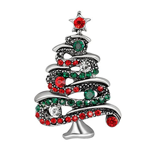 Nighteyes66 Multicolor Rhinestone Christmas Tree Brooch Pin Women's Xmas Breastpin Jewelry Gift