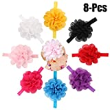 Fascigirl 8PCS Baby Hairband Solid Color Multilayer Flower Baby Headband Infant Headwrap for Toddler Girl