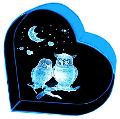 Regali Kaltner–A forma di cuore in vetro: vetro cristallo con 3d di incisione laser, motivo romantico con gufi