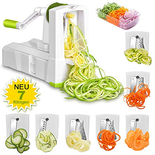 7 in 1 Gemüseschneider - Obstschneider Zwiebeln schneiden Edelstahl Klingen für Salat Fleisch...