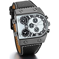 JewelryWe Relojes de Hombre Grande Reloj Deportivo Militar, Reloj de Pulsera Cuarzo de Cuero Negro Tiempo Dual, Cool Llamativo Negro Blanco
