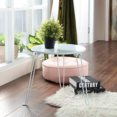 GreenForest Runder Beistelltisch, Kleine Couchtische, Beistelltische aus Metall Sofa Beistelltische für das Home-Office der Küche, 48 x 48 x 40 cm, weiß -
